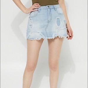 Hot Kiss Skirts - Distressed Frayed Hem Jean Mini Skirt